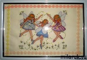 "Картина ""Три милых феечки"" - вышивка крестом"