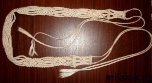 Пояс для летнего платья, плетеный в технике макраме