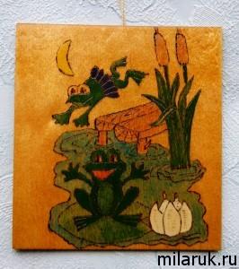 картина выжженная по дереву и покрашенная красками и лаком