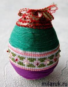 """Яйцо """"писанка"""" - ручная работа с элементами вышивки крестом"""