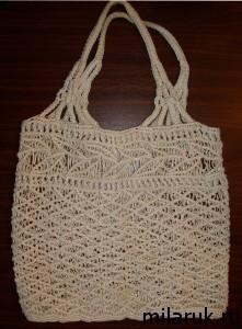 сумка летняя для прогулок, плетеная в технике макраме