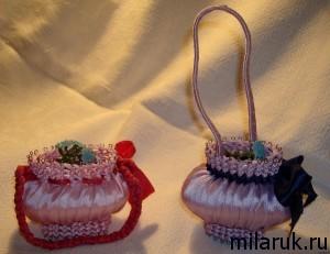Корзинки , выполненные из мыла и лент - оригинальный подарок