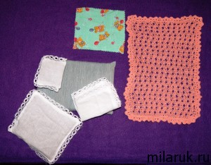 комплект постельного белья с покрывалом для куклы
