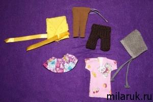 Шесть вещей, сшитых и связанных для маленькой куклы