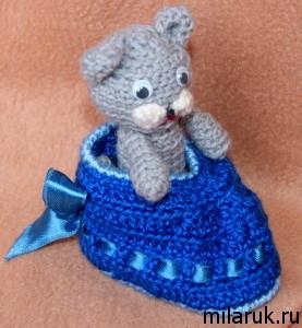 Кот амигуруми в башмаке - игрушка ручной работы