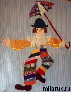 Аппликация из ткани :клоун - идея для коврика