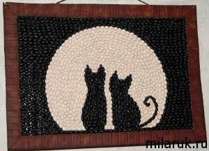 интерьер, декор своими руками,кот, животные,изделия своими руками, картина из фасоли