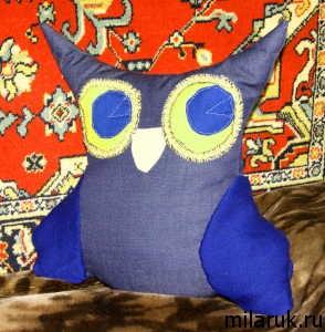 подушка-сова,животные,ручная работа,интерьер,идеи для рукоделия