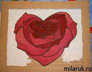 рукоделие,подарки своими руками,картина,роза,сердце