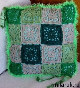 навочка на декоративную подушку,ручная работа,интерьер,вязание крючком,хобби