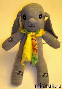 заяц,игрушка из носков,сувенир,животные,авторская ручная работа