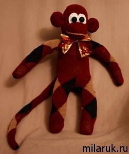 обезьяна,сувенир,подарки детям,мягкая игрушка,из носков своими руками