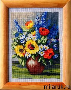 картина,вышивание,цветы,интерьер,сделай сам