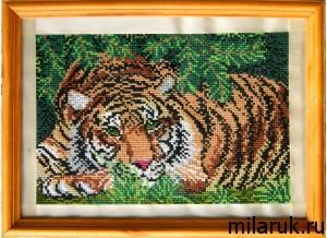 вышивка,картина,тигр,животные,своими руками