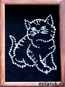 кот,животные,картина,своими руками,стразы